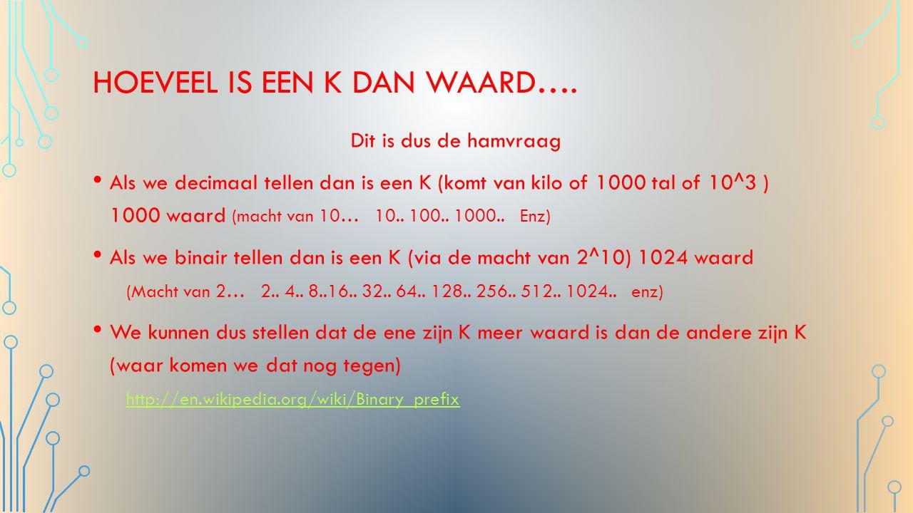 MANIER VAN VOORSTELLEN HTTP://NL.WIKIPEDIA.ORG/WIKI/GIGABYTE HTTP://NL.WIKIPEDIA.ORG/WIKI/GIGABYTE Veelvouden van bytes SI-voorvoegsels Binaire voorvoegsels Symbool (naam)WaardeSymbool (naam)Waarde kB (kilobyte)kilobyte1000 1 = 10 3 KiB (kibibyte)kibibyte1024 1 =2 10 MB (megabyte)megabyte1000 2 = 10 6 MiB (mebibyte)mebibyte1024 2 =2 20 GB (gigabyte)1000 3 = 10 9 GiB (gibibyte)gibibyte1024 3 =2 30 TB (terabyte)terabyte1000 4 = 10 12 TiB (tebibyte)tebibyte1024 4 =2 40 PB (petabyte)petabyte1000 5 = 10 15 PiB (pebibyte)pebibyte1024 5 =2 50 EB (exabyte)exabyte1000 6 = 10 18 EiB (exbibyte)exbibyte1024 6 =2 60 ZB (zettabyte)zettabyte1000 7 = 10 21 ZiB (zebibyte)zebibyte1024 7 =2 70 YB (yottabyte)yottabyte1000 8 = 10 24 YiB (yobibyte)yobibyte1024 8 =2 80