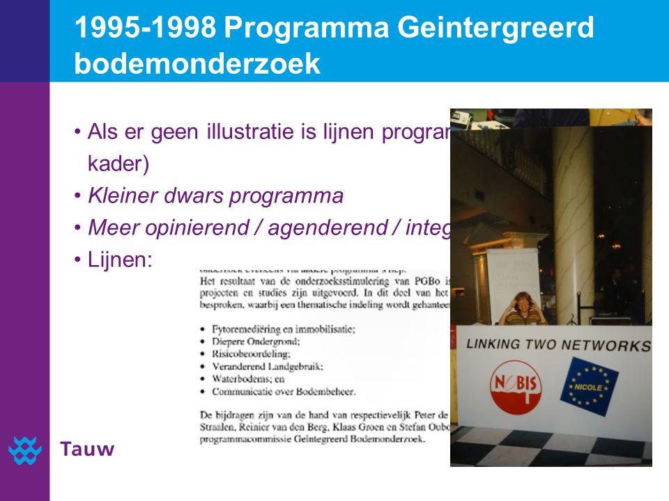1995-1998 Programma Geintergreerd bodemonderzoek Als er geen illustratie is lijnen programma noemen (zie kader) Kleiner dwars programma Meer opinierend / agenderend / integrerend Lijnen: