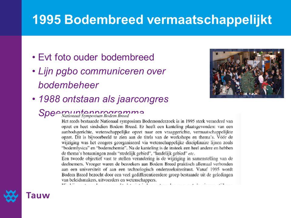 1995 Bodembreed vermaatschappelijkt Evt foto ouder bodembreed Lijn pgbo communiceren over bodembeheer 1988 ontstaan als jaarcongres Speerpuntenprogramma