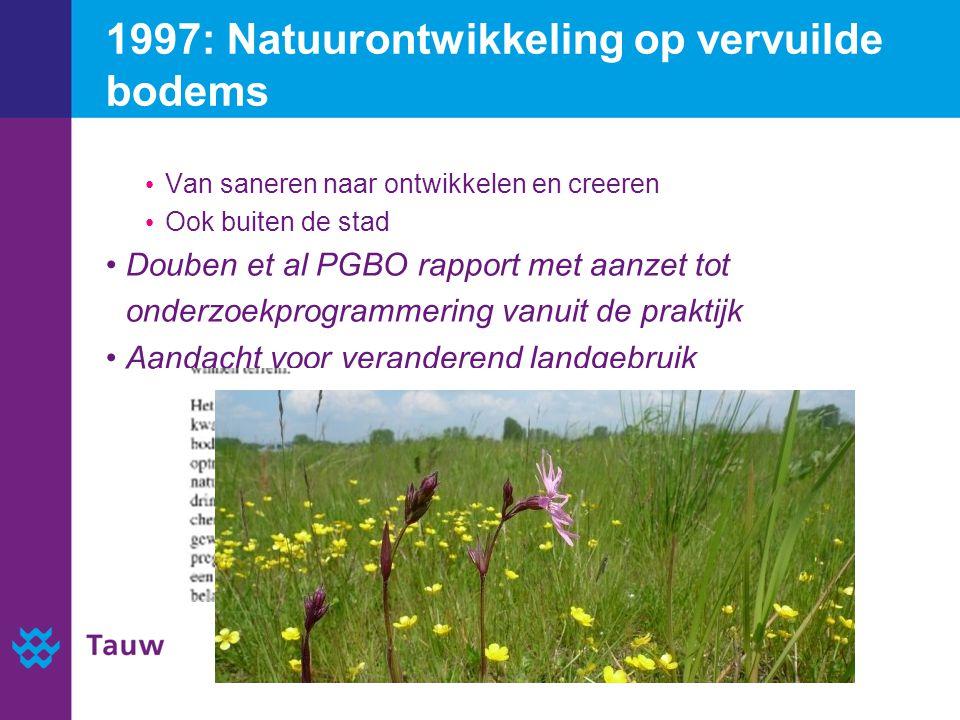 1997: Natuurontwikkeling op vervuilde bodems Van saneren naar ontwikkelen en creeren Ook buiten de stad Douben et al PGBO rapport met aanzet tot onderzoekprogrammering vanuit de praktijk Aandacht voor veranderend landgebruik