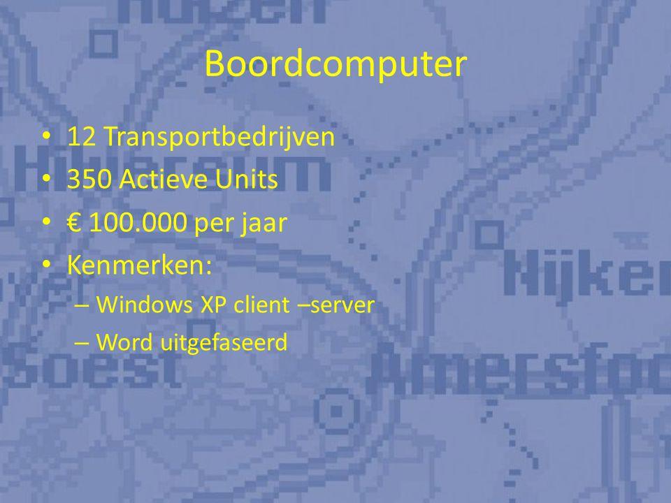 Boordcomputer 12 Transportbedrijven 350 Actieve Units € 100.000 per jaar Kenmerken: – Windows XP client –server – Word uitgefaseerd
