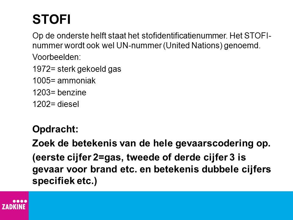 STOFI Op de onderste helft staat het stofidentificatienummer. Het STOFI- nummer wordt ook wel UN-nummer (United Nations) genoemd. Voorbeelden: 1972= s
