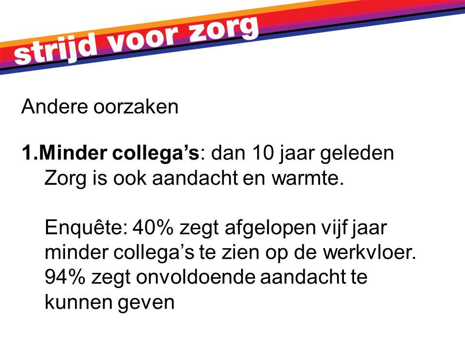 1.Minder collega's: dan 10 jaar geleden Zorg is ook aandacht en warmte.