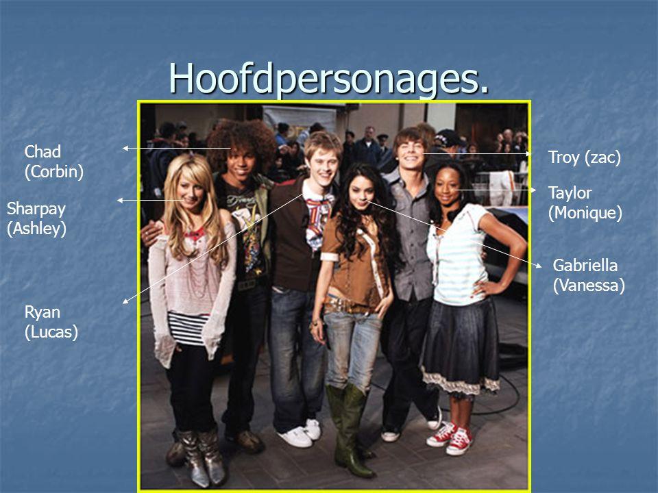 Hoofdpersonages. Troy (zac) Taylor (Monique) Gabriella (Vanessa) Ryan (Lucas) Chad (Corbin) Sharpay (Ashley)