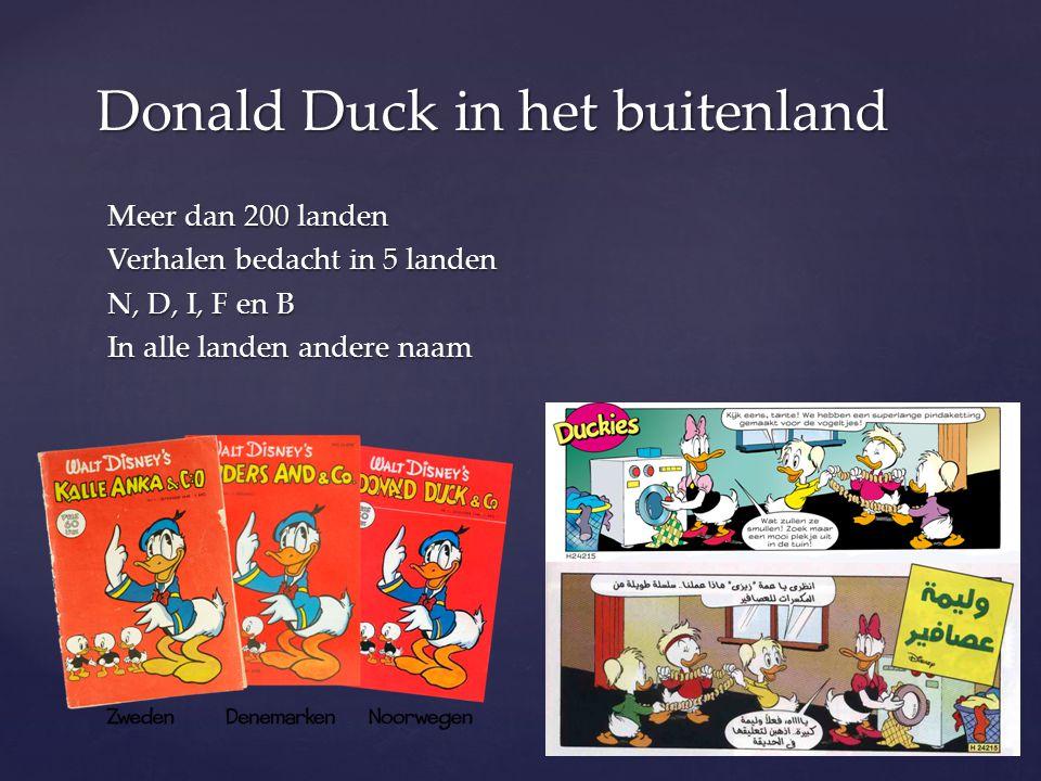 Meer dan 200 landen Verhalen bedacht in 5 landen N, D, I, F en B In alle landen andere naam Donald Duck in het buitenland