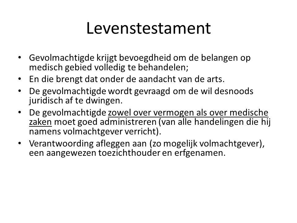 Levenstestament Gevolmachtigde krijgt bevoegdheid om de belangen op medisch gebied volledig te behandelen; En die brengt dat onder de aandacht van de