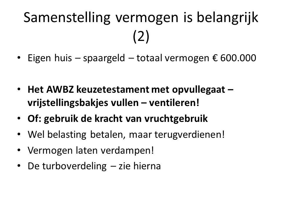Samenstelling vermogen is belangrijk (2) Eigen huis – spaargeld – totaal vermogen € 600.000 Het AWBZ keuzetestament met opvullegaat – vrijstellingsbak
