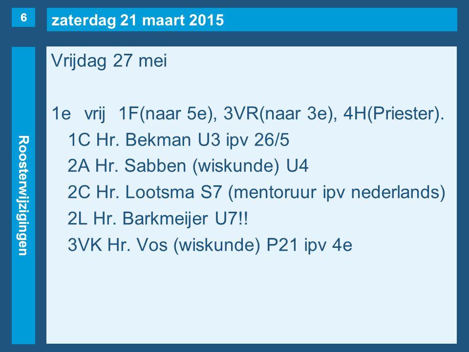 zaterdag 21 maart 2015 Roosterwijzigingen Vrijdag 27 mei 1evrij1F(naar 5e), 3VR(naar 3e), 4H(Priester). 1C Hr. Bekman U3 ipv 26/5 2A Hr. Sabben (wisku