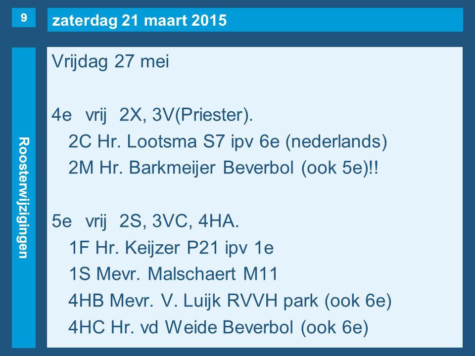 zaterdag 21 maart 2015 Roosterwijzigingen Vrijdag 27 mei 4evrij2X, 3V(Priester). 2C Hr. Lootsma S7 ipv 6e (nederlands) 2M Hr. Barkmeijer Beverbol (ook
