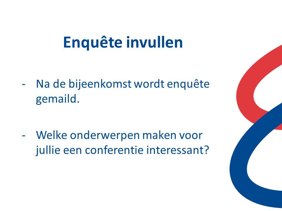 Enquête invullen -Na de bijeenkomst wordt enquête gemaild. -Welke onderwerpen maken voor jullie een conferentie interessant?