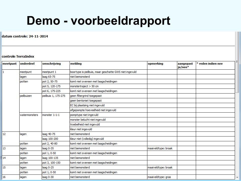 Demo - voorbeeldrapport 25 november 20146