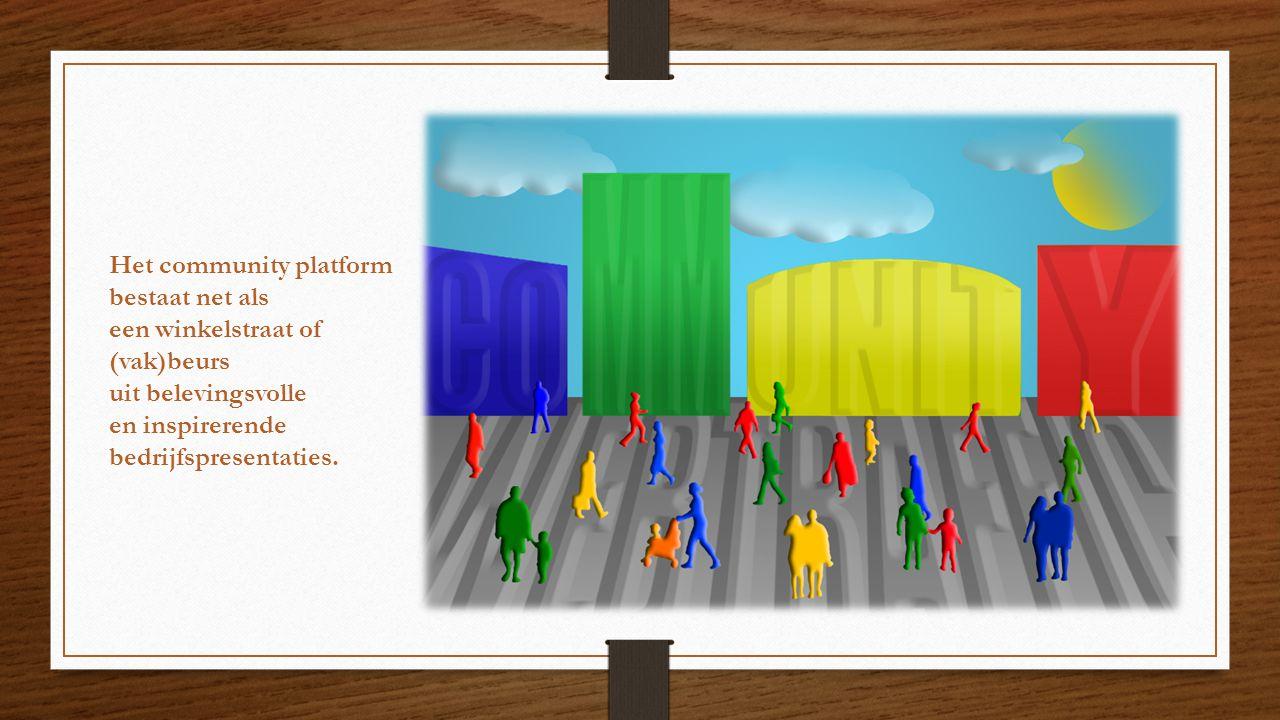 Het community platform bestaat net als een winkelstraat of (vak)beurs uit belevingsvolle en inspirerende bedrijfspresentaties.