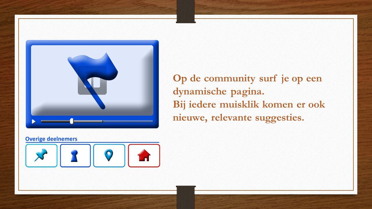 Op de community surf je op een dynamische pagina. Bij iedere muisklik komen er ook nieuwe, relevante suggesties.