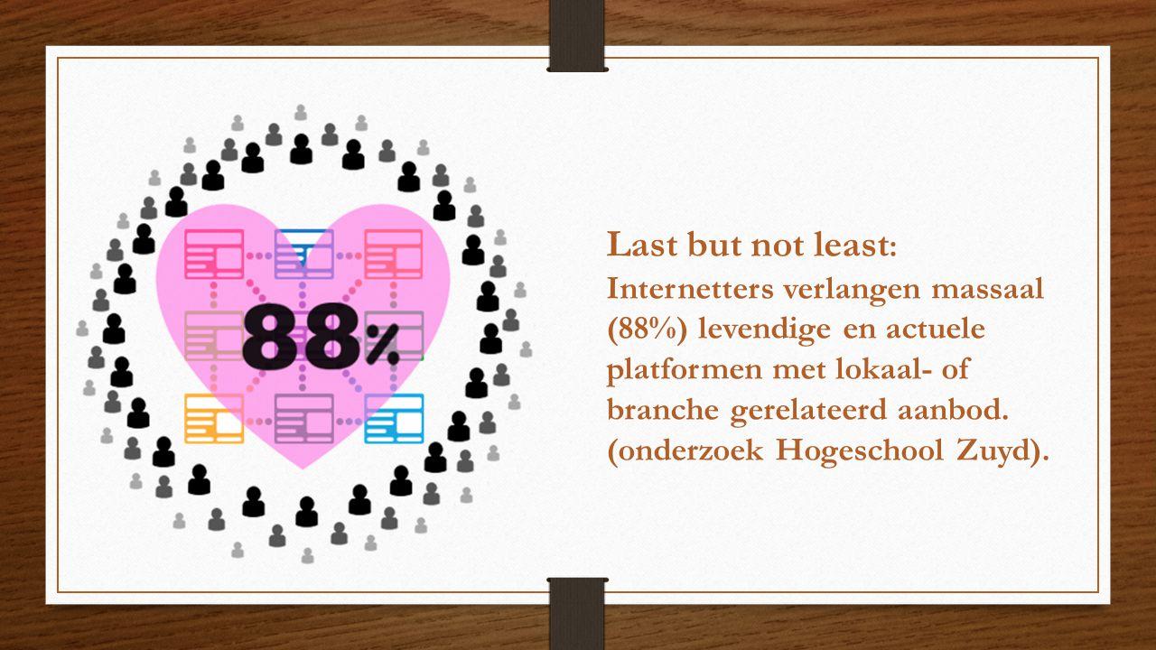 Last but not least : Internetters verlangen massaal (88%) levendige en actuele platformen met lokaal- of branche gerelateerd aanbod. (onderzoek Hogesc
