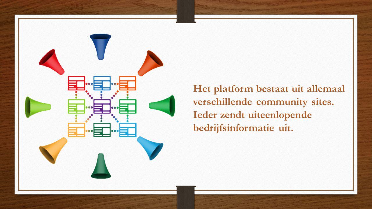 Het platform bestaat uit allemaal verschillende community sites. Ieder zendt uiteenlopende bedrijfsinformatie uit.