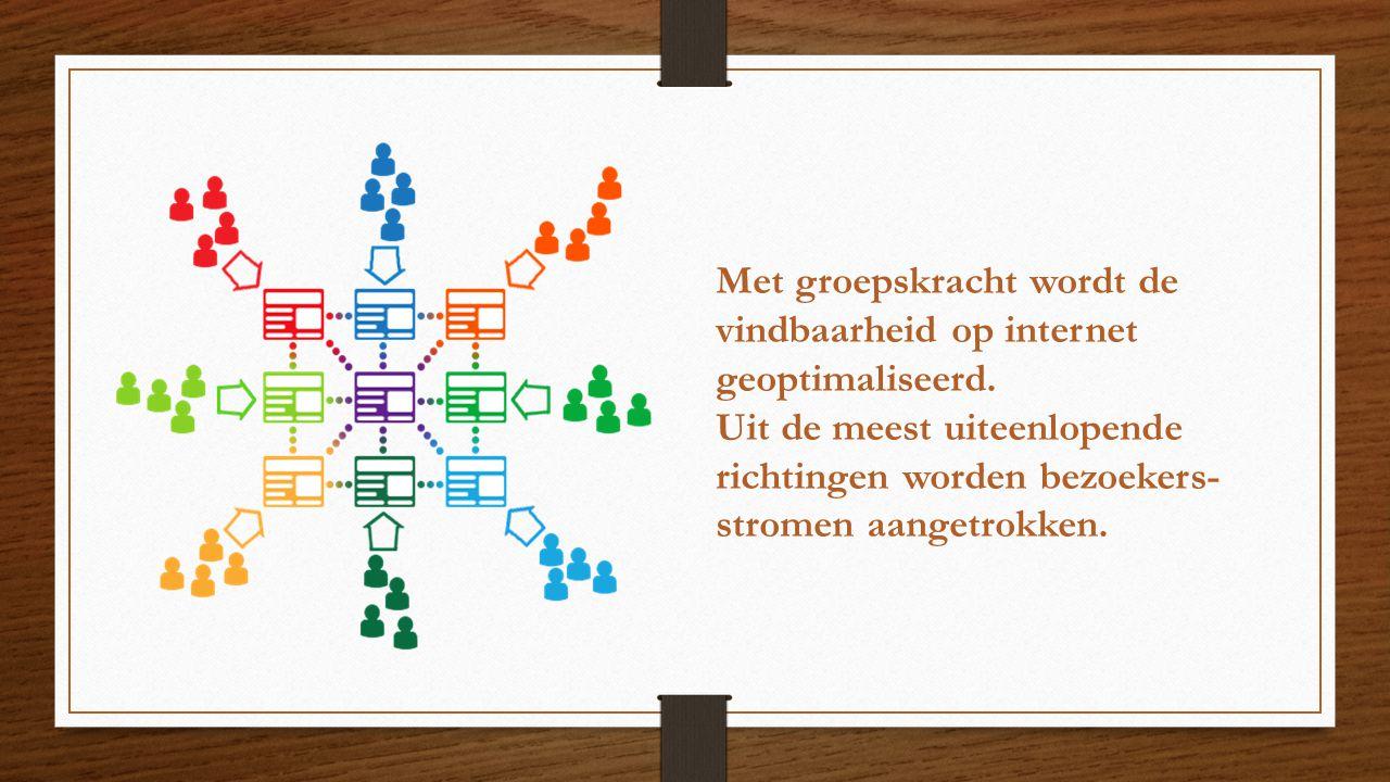 Met groepskracht wordt de vindbaarheid op internet geoptimaliseerd. Uit de meest uiteenlopende richtingen worden bezoekers- stromen aangetrokken.