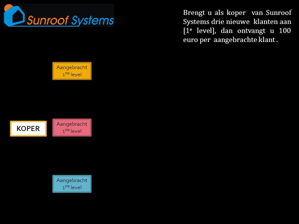 KOPER Aangebracht 1 ste level Aangebracht 1 ste level Aangebracht 1 ste level Brengt u als koper van Sunroof Systems drie nieuwe klanten aan [1 e level], dan ontvangt u 100 euro per aangebrachte klant.