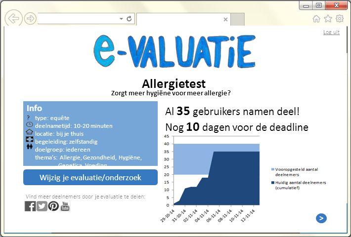 Info type: equête deelnametijd: 10-20 minuten locatie: bij je thuis begeleiding: zelfstandig doelgroep: iedereen thema's: Allergie, Gezondheid, Hygiëne, Genetica, Voeding Allergietest Zorgt meer hygiëne voor meer allergie.