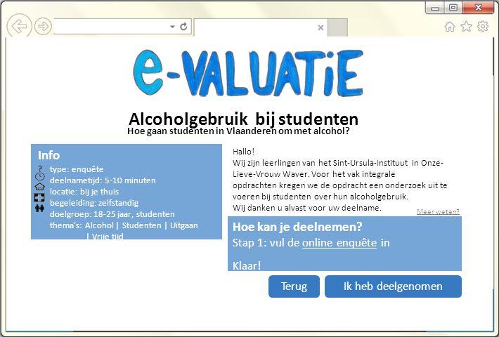 Alcoholgebruik bij studenten Hoe kan je deelnemen.