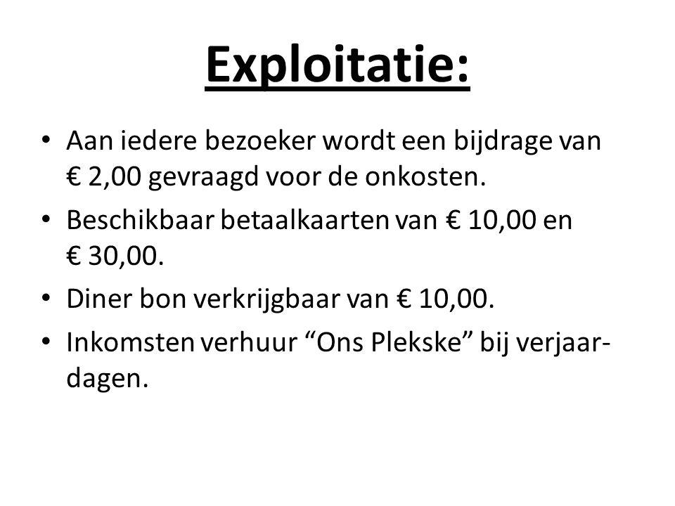 Exploitatie: Aan iedere bezoeker wordt een bijdrage van € 2,00 gevraagd voor de onkosten. Beschikbaar betaalkaarten van € 10,00 en € 30,00. Diner bon