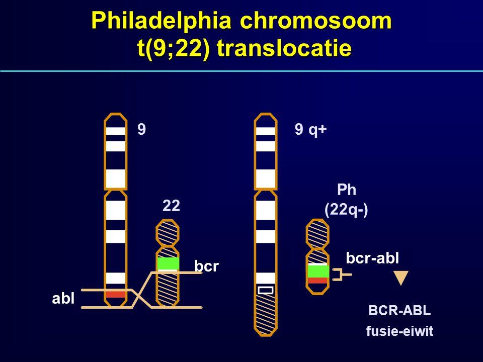 Philadelphia chromosoom t(9;22) translocatie 22 bcr abl Ph (22q-) bcr-abl BCR-ABL fusie-eiwit 99 q+