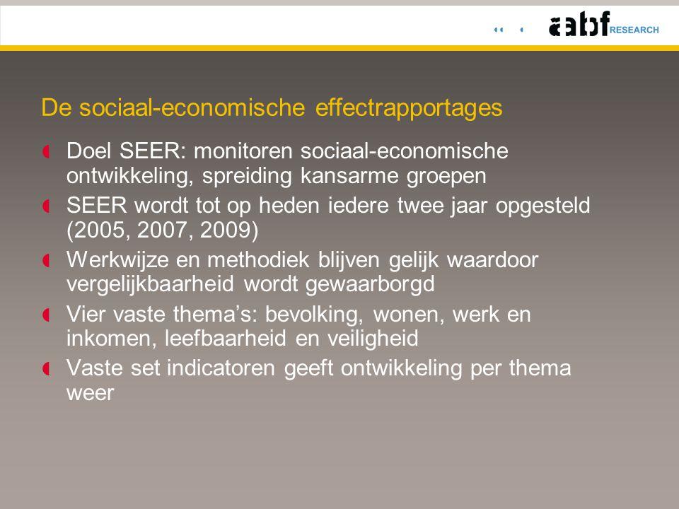 Gevolgen kredietcrisis nog niet in de cijfers  De indicatoren in SEER 2009 lopen tot 2007/2008  Daardoor zijn de gevolgen van de kredietcrisis, die er zeker zullen zijn, nog niet zichtbaar in de cijfers.