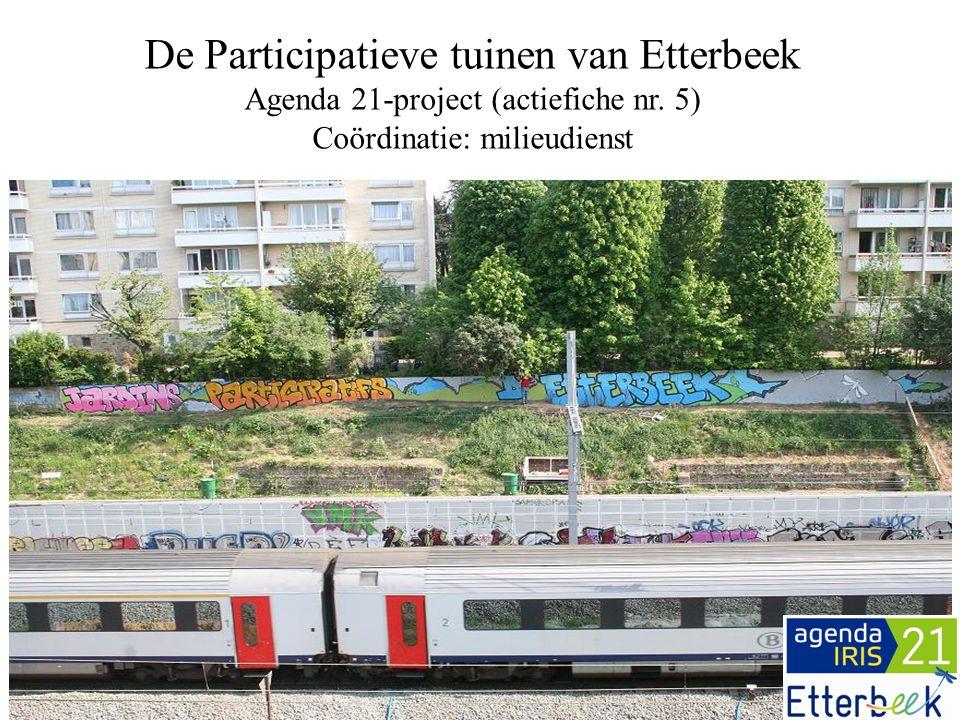 De basisingrediënten in 2008 4.Lancering van de « Agenda's 21» in het Brussels Gewest 5.Weinig groene ruimten in de gemeente 6.Politieke wil 1.GEN-werkzaamheden 2.Voorstel om een erfpachtovereenkomst te ondertekenen voor +/- 3700m² aan terreinen 3.Stedenbouwkundige vergunning voor moestuinen en boomgaard Terrein 1 : 2700 m² Terrein 2 : 1000 m²