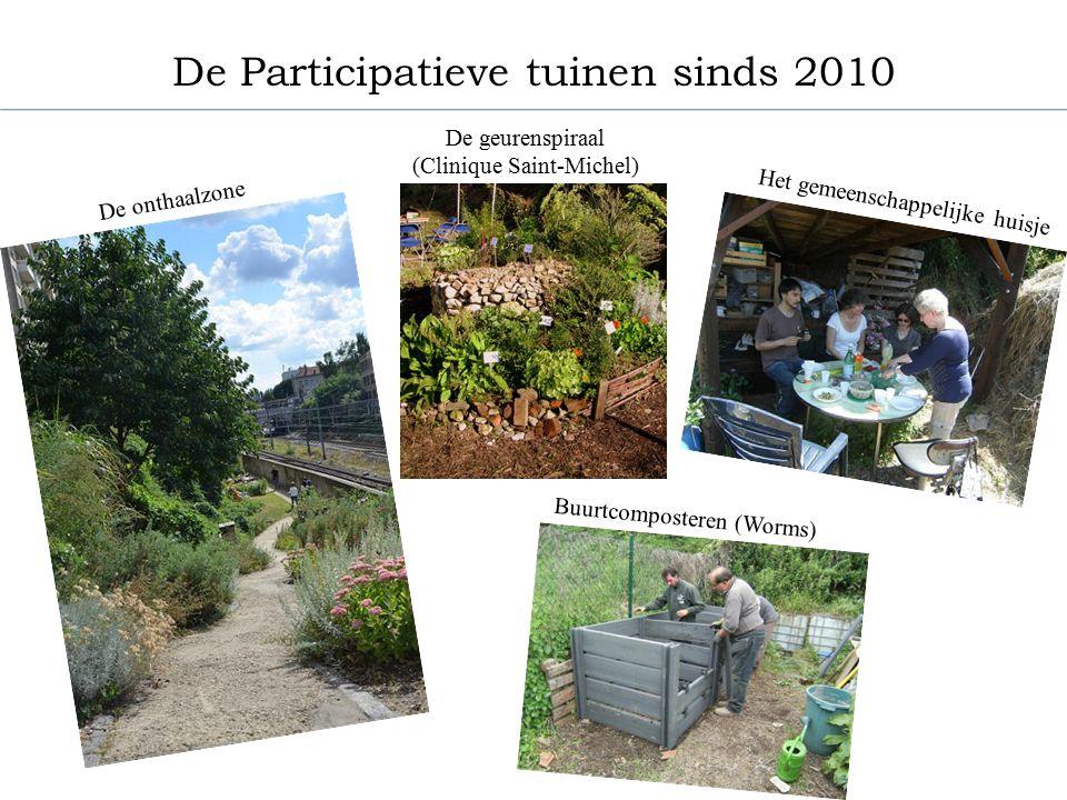De vijver (Natagora) De moestuin met oude soorten (Flore et pomone) De moestuinen (LHS en RES 59) De bijenkasten (SRABE) De Participatieve tuinen sinds 2010 Het braakland (Centre Paul Duvigneaud)