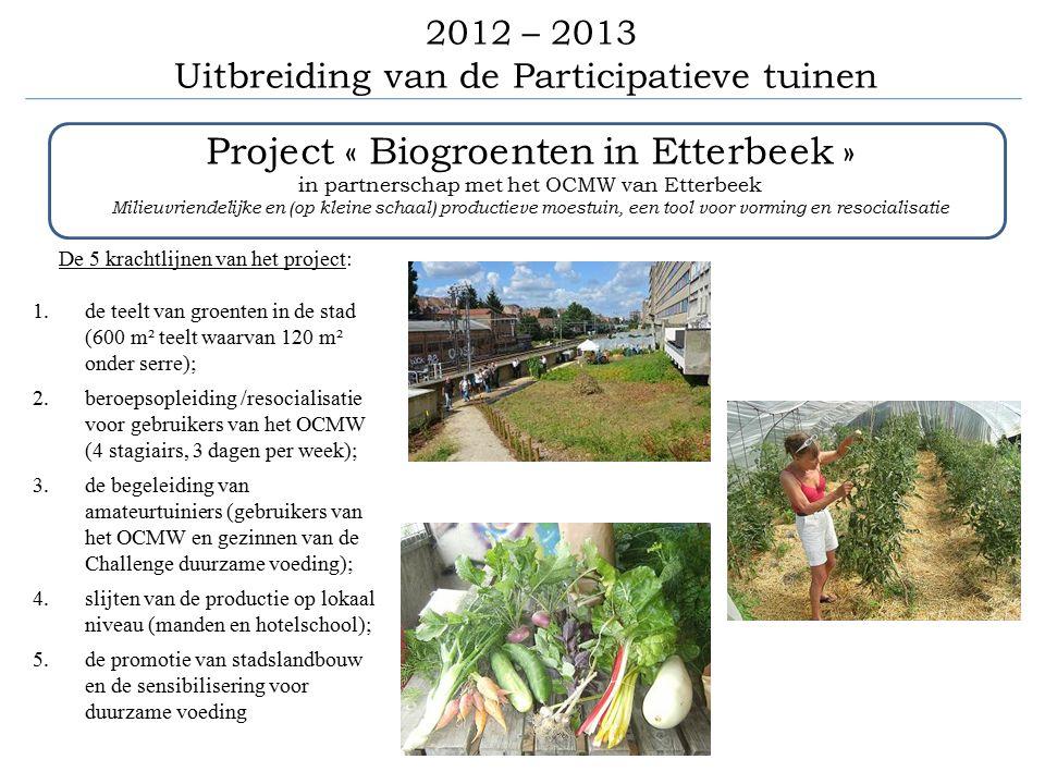 2012 – 2013 Uitbreiding van de Participatieve tuinen Project « Biogroenten in Etterbeek » in partnerschap met het OCMW van Etterbeek Milieuvriendelijke en (op kleine schaal) productieve moestuin, een tool voor vorming en resocialisatie De 5 krachtlijnen van het project: 1.de teelt van groenten in de stad (600 m² teelt waarvan 120 m² onder serre); 2.beroepsopleiding /resocialisatie voor gebruikers van het OCMW (4 stagiairs, 3 dagen per week); 3.de begeleiding van amateurtuiniers (gebruikers van het OCMW en gezinnen van de Challenge duurzame voeding); 4.slijten van de productie op lokaal niveau (manden en hotelschool); 5.de promotie van stadslandbouw en de sensibilisering voor duurzame voeding