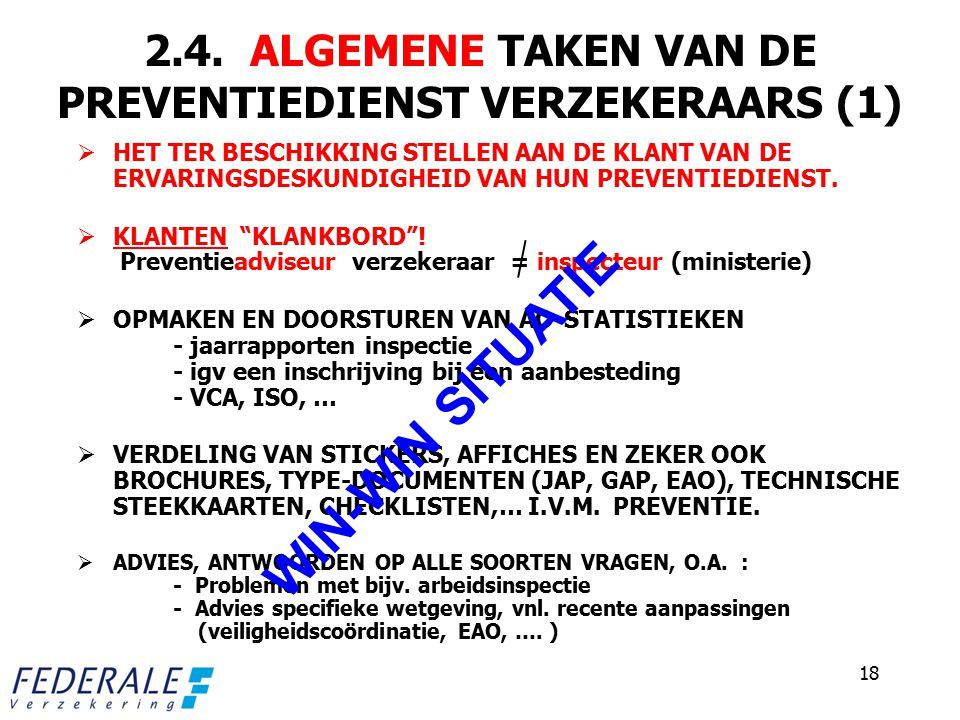 2.4. ALGEMENE TAKEN VAN DE PREVENTIEDIENST VERZEKERAARS (1)  HET TER BESCHIKKING STELLEN AAN DE KLANT VAN DE ERVARINGSDESKUNDIGHEID VAN HUN PREVENTIE