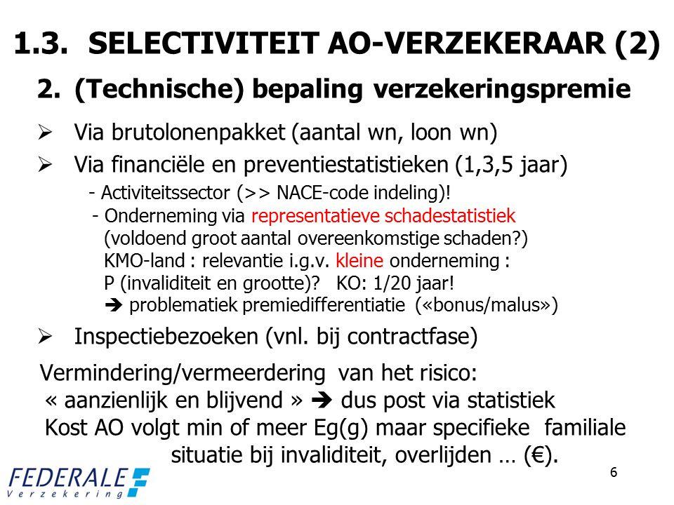 1.3. SELECTIVITEIT AO-VERZEKERAAR (2) 2.(Technische) bepaling verzekeringspremie  Via brutolonenpakket (aantal wn, loon wn)  Via financiële en preve