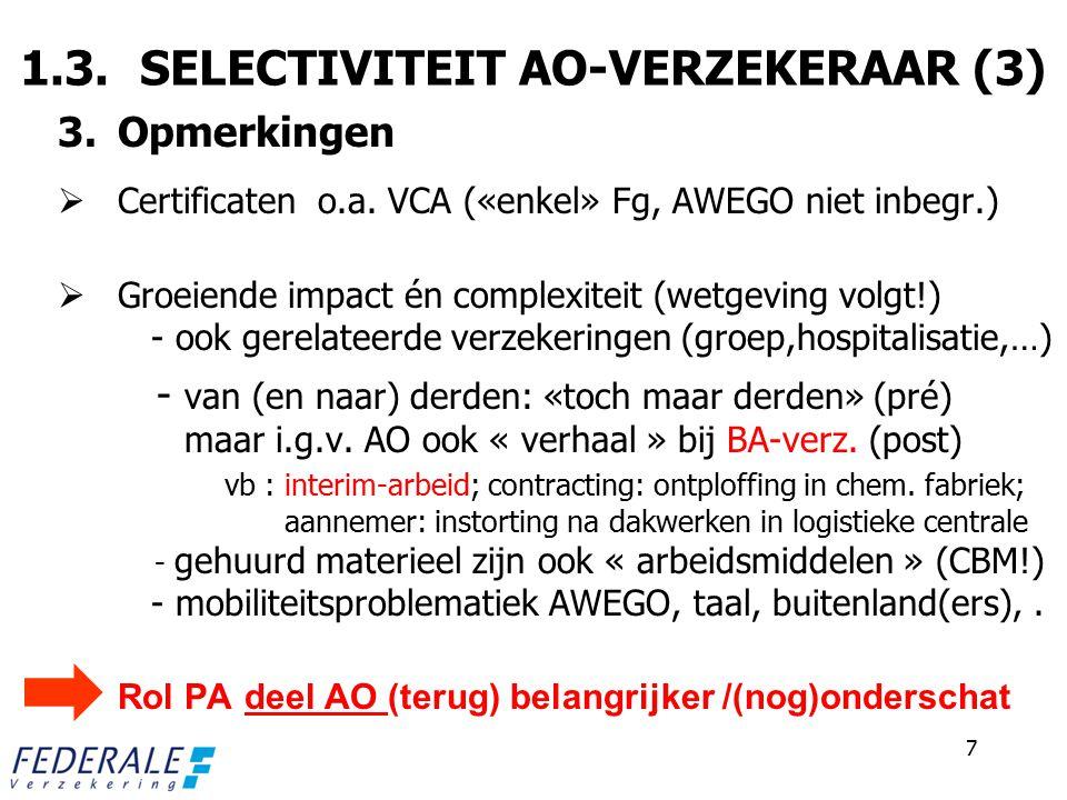 DE DOOR DE VERZEKERING GEDEKTE KOSTEN (geformaliseerd !) 90% van het basisloon (plafonnering!) medische kosten/kosten hospitalisatie invaliditeits- en/of overlevingsrente verzekeringspremie in verband met het risico kwaliteitsverlies en beelddegradatie productiviteitsverlies/opleidingskosten strafrechtelijke boeten (?) + kosten rimpeleffect «VERZEKERING AO» = TOP V/D IJSBERG Persoonsverzekering : - hospitalisatieverz., groepsverz., - gewaarborgd loon AO blijft centraal .