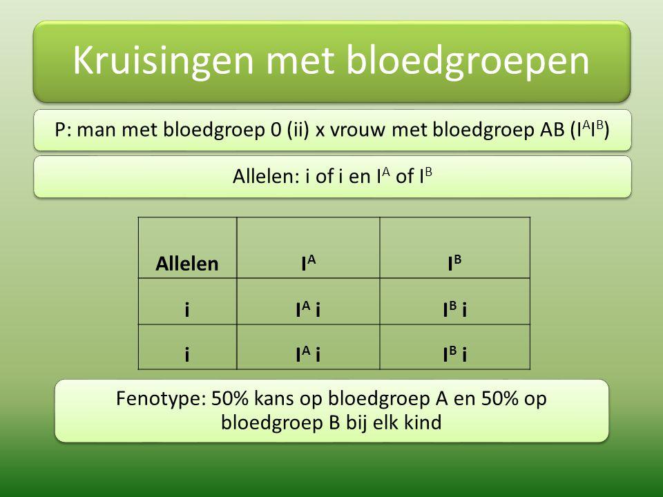Kruisingen met bloedgroepen P: man met bloedgroep 0 (ii) x vrouw met bloedgroep AB (I A I B )Allelen: i of i en I A of I B AllelenIAIA IBIB iI A iI B