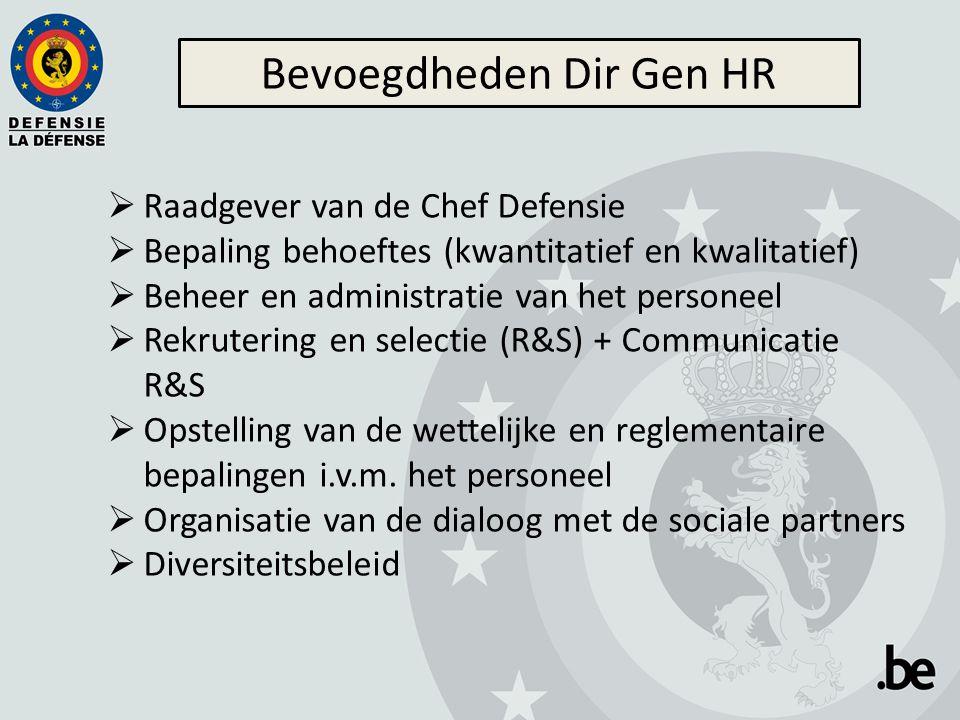  Raadgever van de Chef Defensie  Bepaling behoeftes (kwantitatief en kwalitatief)  Beheer en administratie van het personeel  Rekrutering en selectie (R&S) + Communicatie R&S  Opstelling van de wettelijke en reglementaire bepalingen i.v.m.