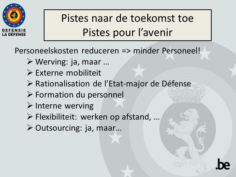 Personeelskosten reduceren => minder Personeel!  Werving: ja, maar …  Externe mobiliteit  Rationalisation de l'Etat-major de Défense  Formation du