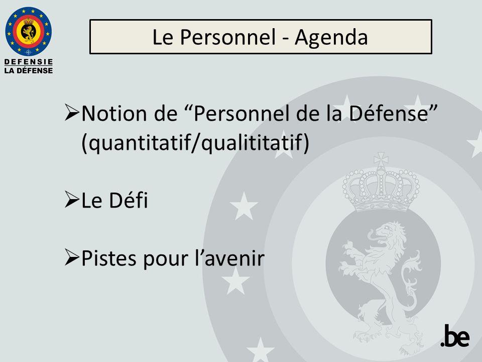 """Le Personnel - Agenda  Notion de """"Personnel de la Défense"""" (quantitatif/qualititatif)  Le Défi  Pistes pour l'avenir"""