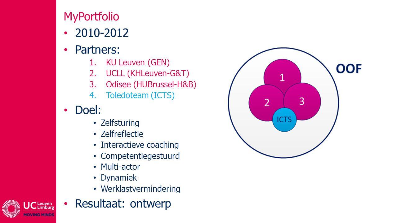 MyPortfolio 2010-2012 Partners: 1.KU Leuven (GEN) 2.UCLL (KHLeuven-G&T) 3.Odisee (HUBrussel-H&B) 4.Toledoteam (ICTS) Doel: Zelfsturing Zelfreflectie I