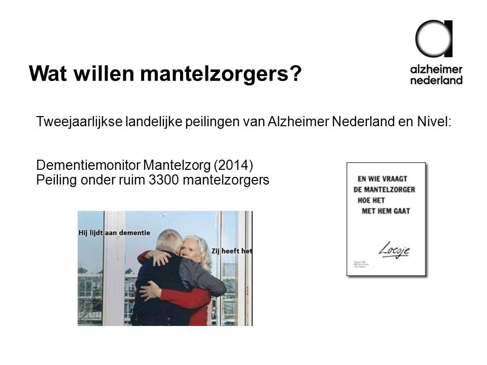 Wat willen mantelzorgers? Tweejaarlijkse landelijke peilingen van Alzheimer Nederland en Nivel: Dementiemonitor Mantelzorg (2014) Peiling onder ruim 3