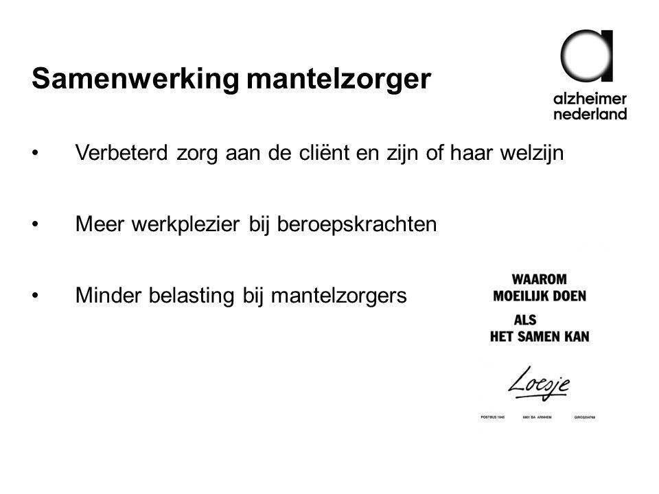 Samenwerking mantelzorger Verbeterd zorg aan de cliënt en zijn of haar welzijn Meer werkplezier bij beroepskrachten Minder belasting bij mantelzorgers