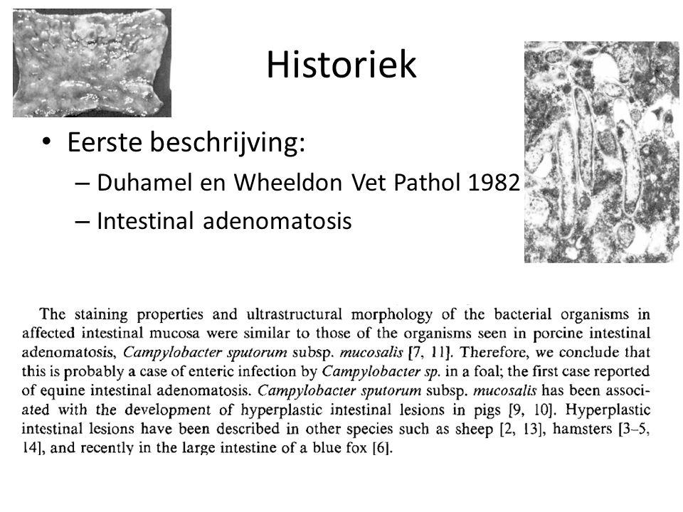 Historiek Eerste beschrijving: – Duhamel en Wheeldon Vet Pathol 1982 – Intestinal adenomatosis