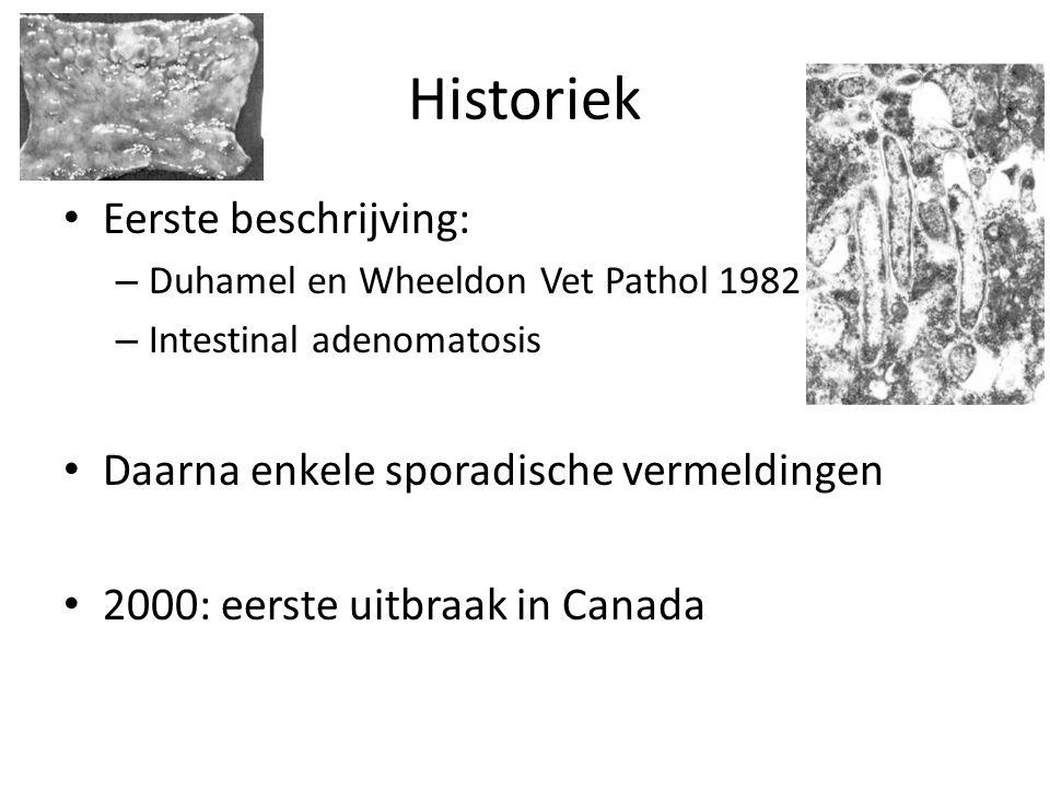Historiek Eerste beschrijving: – Duhamel en Wheeldon Vet Pathol 1982 – Intestinal adenomatosis Daarna enkele sporadische vermeldingen 2000: eerste uitbraak in Canada