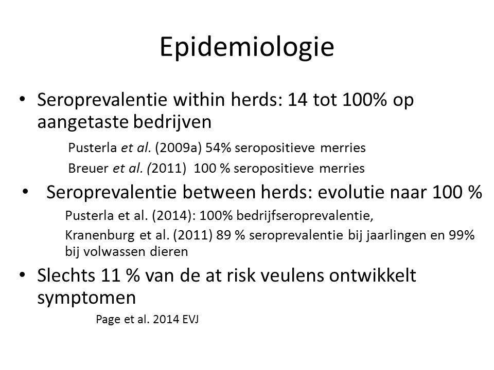 Epidemiologie Seroprevalentie within herds: 14 tot 100% op aangetaste bedrijven Pusterla et al.