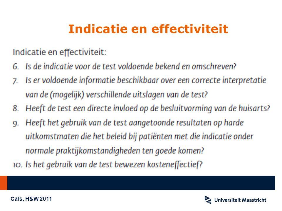 Indicatie en effectiviteit Cals, H&W 2011