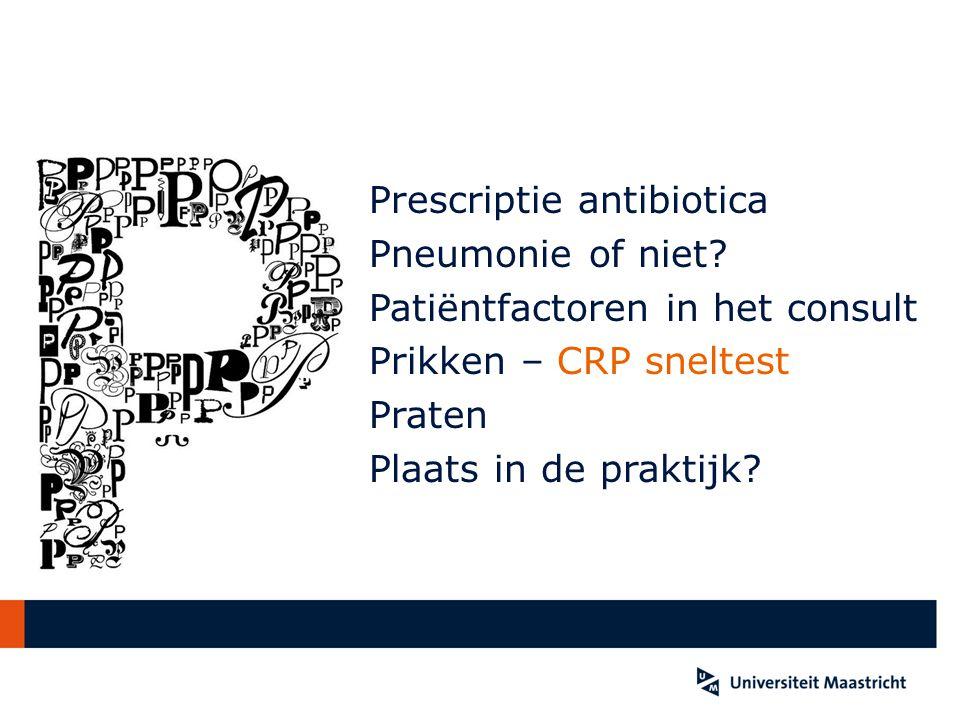 Prescriptie antibiotica Pneumonie of niet? Patiëntfactoren in het consult Prikken – CRP sneltest Praten Plaats in de praktijk?
