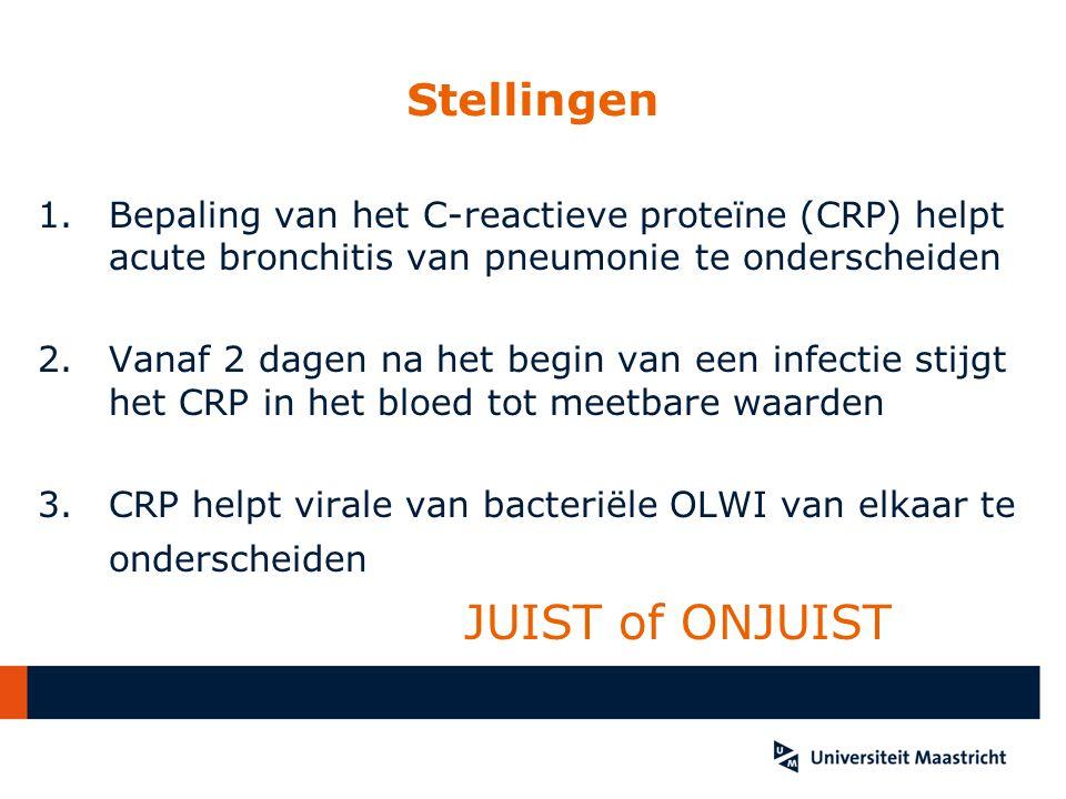 Stellingen 1.Bepaling van het C-reactieve proteïne (CRP) helpt acute bronchitis van pneumonie te onderscheiden 2. Vanaf 2 dagen na het begin van een i