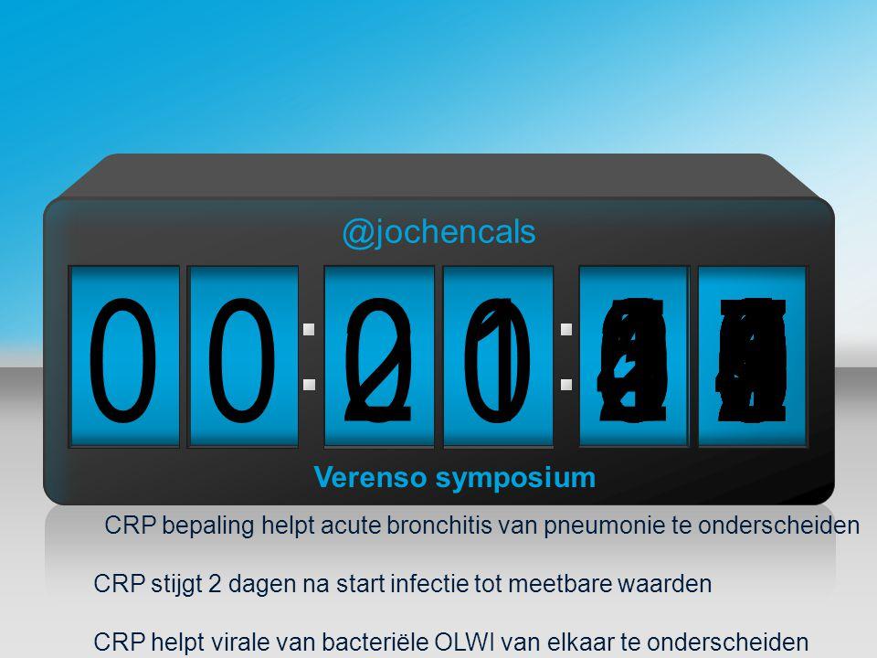CRP bepaling helpt acute bronchitis van pneumonie te onderscheiden CRP stijgt 2 dagen na start infectie tot meetbare waarden CRP helpt virale van bacteriële OLWI van elkaar te onderscheiden 090 00 0 2876543215 1 004987654321039876543210987654321021987654321098765432100 Verenso symposium @jochencals
