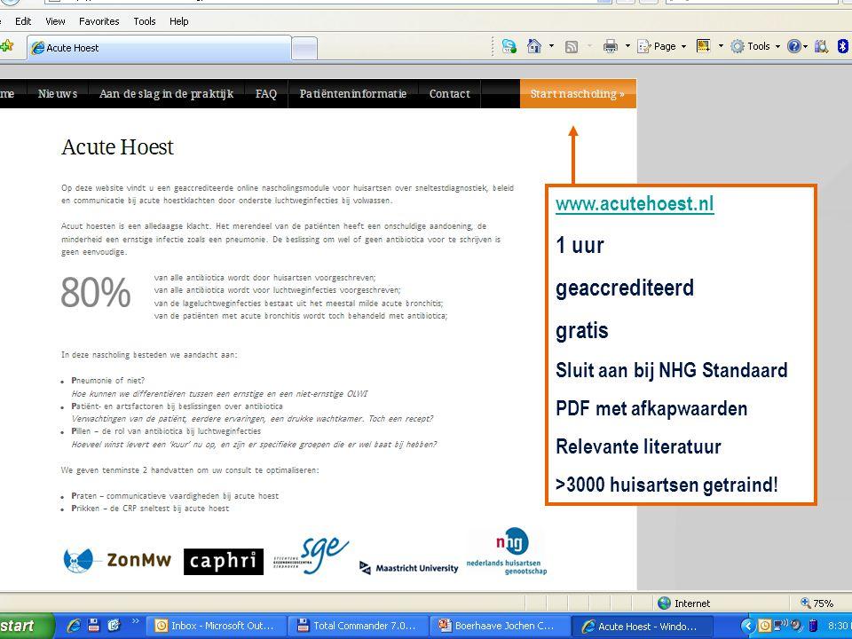 1 uur geaccrediteerd gratis Sluit aan bij NHG Standaard PDF met afkapwaarden Relevante literatuur >3000 huisartsen getraind!