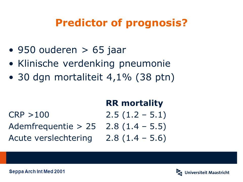 Predictor of prognosis? 950 ouderen > 65 jaar Klinische verdenking pneumonie 30 dgn mortaliteit 4,1% (38 ptn) RR mortality CRP >1002.5 (1.2 – 5.1) Ade