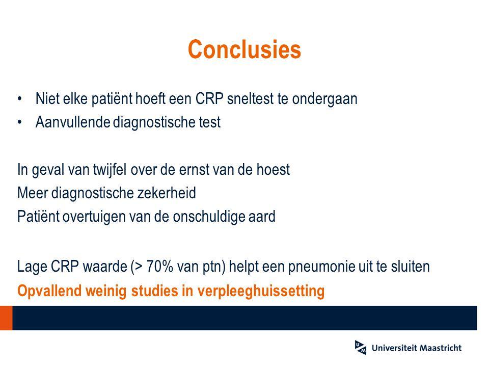 Conclusies Niet elke patiënt hoeft een CRP sneltest te ondergaan Aanvullende diagnostische test In geval van twijfel over de ernst van de hoest Meer d
