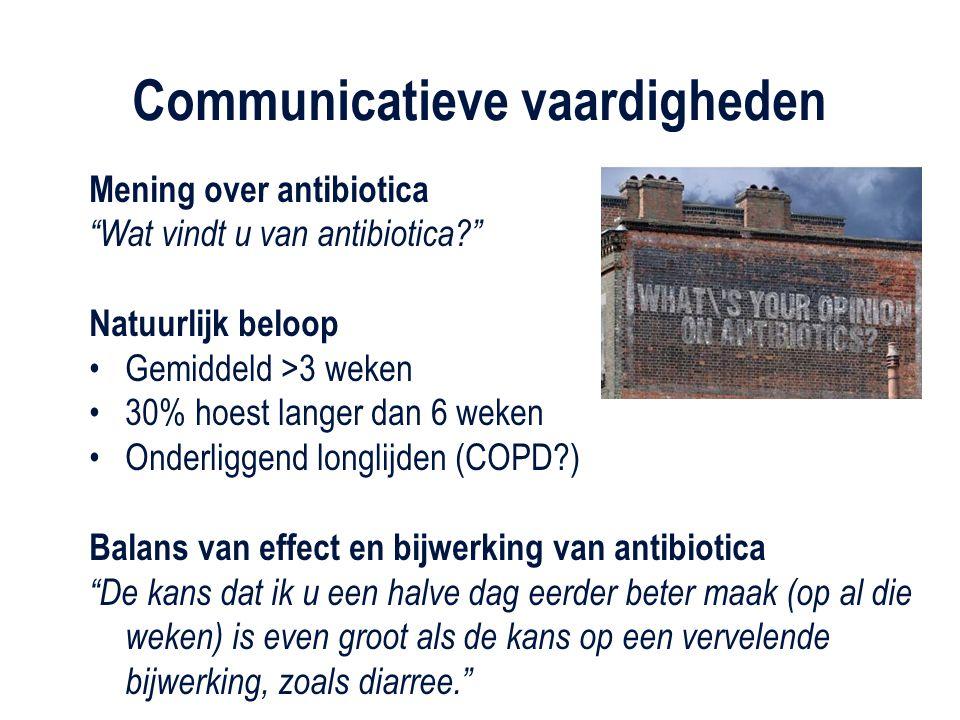 """Mening over antibiotica """"Wat vindt u van antibiotica?"""" Natuurlijk beloop Gemiddeld >3 weken 30% hoest langer dan 6 weken Onderliggend longlijden (COPD"""